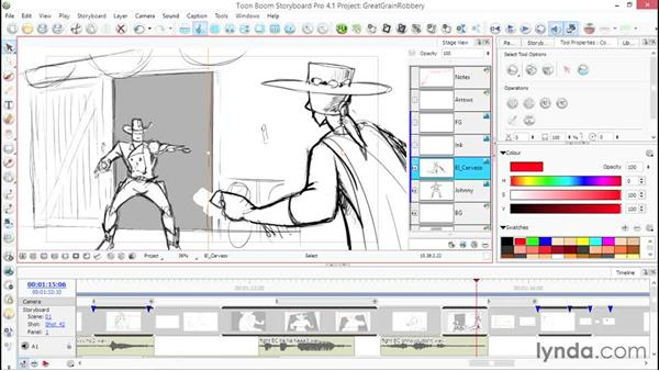 Using layers to speed up your work: Toon Boom Storyboard Pro Essential Training