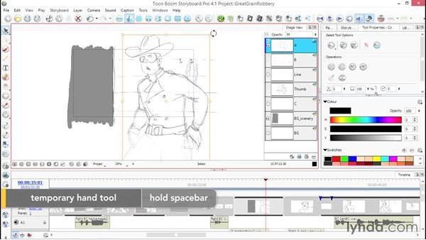 Understanding layer adjustments: Toon Boom Storyboard Pro Essential Training