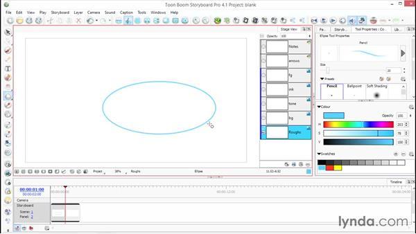 Using shape tools: Toon Boom Storyboard Pro Essential Training