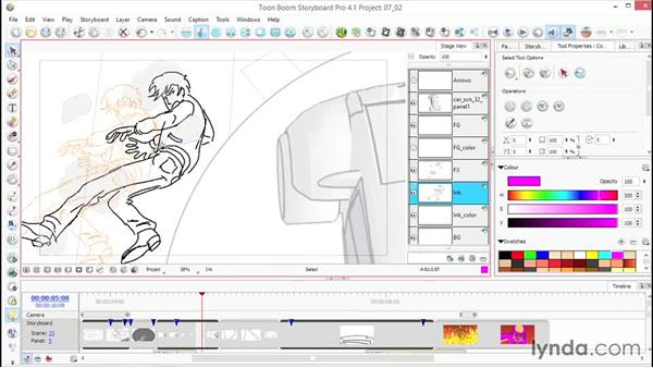 Moving, scaling, stretching, and skewing drawings: Toon Boom Storyboard Pro Essential Training