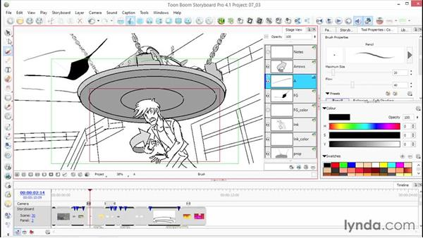 How to edit contours and add perspective to your drawings: Toon Boom Storyboard Pro Essential Training