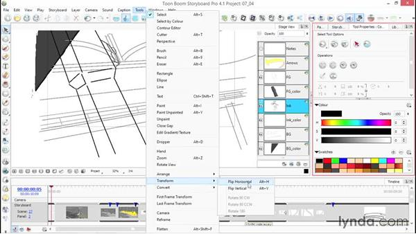 Flipping an image horizontally or vertically: Toon Boom Storyboard Pro Essential Training