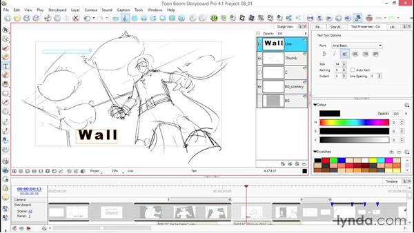 Adding text to images: Toon Boom Storyboard Pro Essential Training