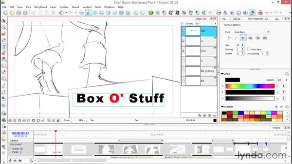 Editing your visual text: Toon Boom Storyboard Pro Essential Training