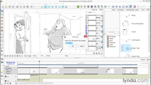 Saving images and panels to a library for reuse: Toon Boom Storyboard Pro Essential Training