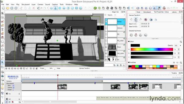 Using keyframes for camera motion: Toon Boom Storyboard Pro Essential Training