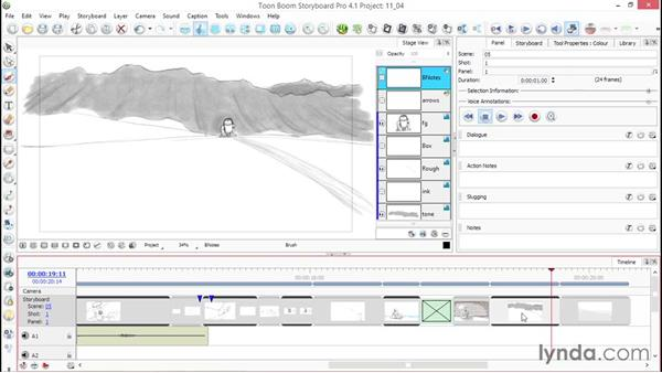 Adding transitions to your scenes: Toon Boom Storyboard Pro Essential Training