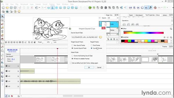 Importing audio: Toon Boom Storyboard Pro Essential Training