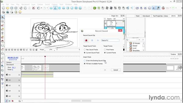 Recording audio directly onto the timeline: Toon Boom Storyboard Pro Essential Training