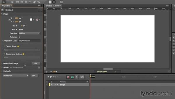 Creating a new project: Edge Animate Essential Training