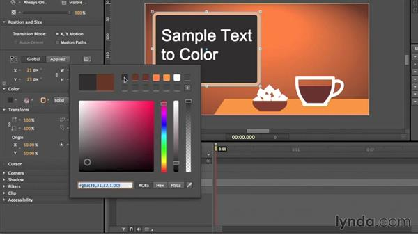 Creating colors, gradients, and swatches: Edge Animate Essential Training