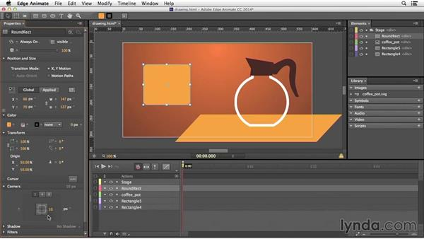 Drawing with the Rectangle, Ellipse, and clipping tools: Edge Animate Essential Training