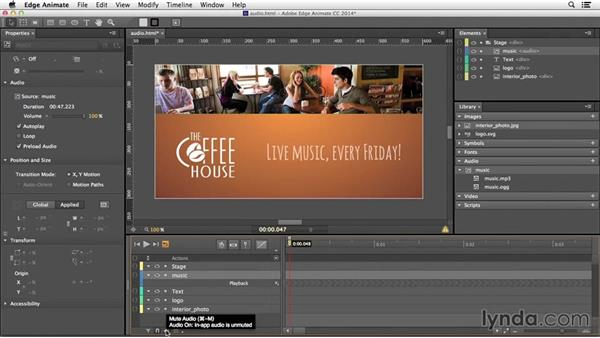 Adding audio to your composition: Edge Animate Essential Training