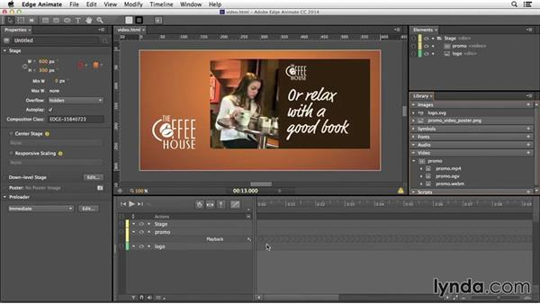 Adding video to your composition: Edge Animate Essential Training