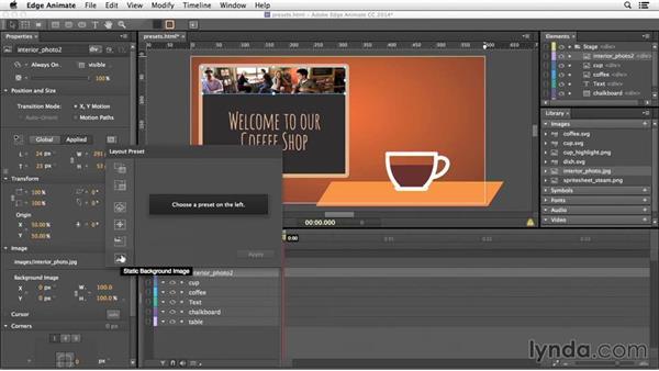 Using responsive presets: Edge Animate Essential Training