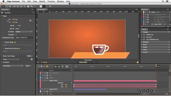 Setting easing options for animations: Edge Animate Essential Training