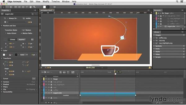 Animating elements along a motion path: Edge Animate Essential Training