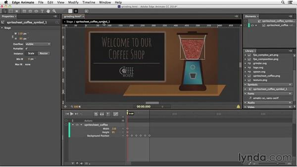 Creating animations from a sprite-sheet animation: Edge Animate Essential Training
