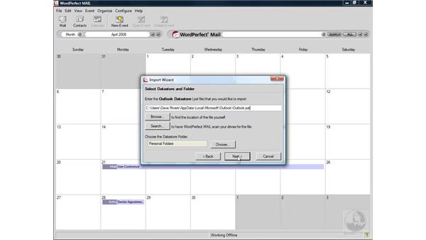 Importing a calendar: WordPerfect Office X4 Essential Training
