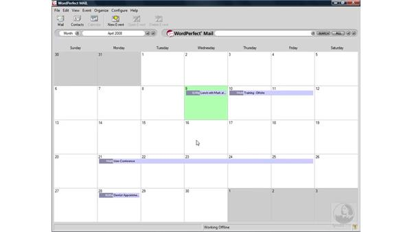 Working with multiple calendars: WordPerfect Office X4 Essential Training