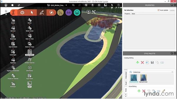 Editing water features: Up and Running with InfraWorks