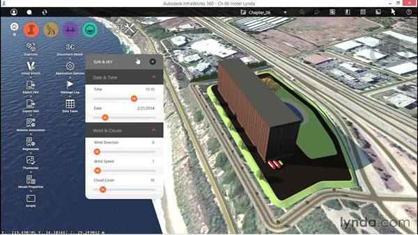Checking out the Sun and Sky settings: Up and Running with InfraWorks