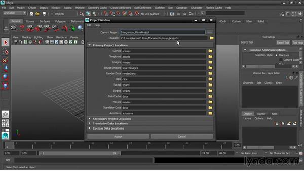 Creating or setting a Maya project: 3ds Max and Maya Integration