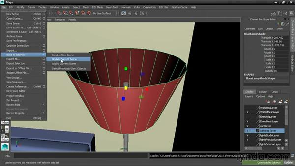 Using the Send To command: 3ds Max and Maya Integration