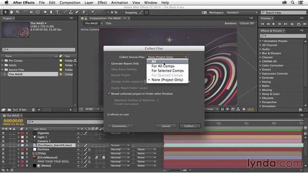 The Collect Files command: After Effects Tips and Techniques: Shortcuts, Navigation, and Project Management