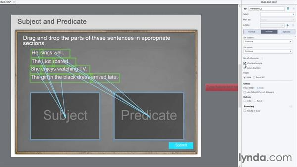 Setting the interaction-level actions: Captivate Projects: Drag-and-Drop Interactions
