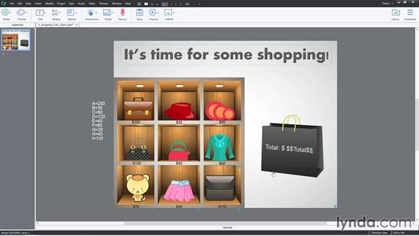 Example eleven: The shopping cart interaction: Captivate Projects: Drag-and-Drop Interactions