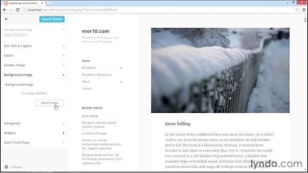 Implementing basic theme customization: Start With a Theme: Twenty Fifteen