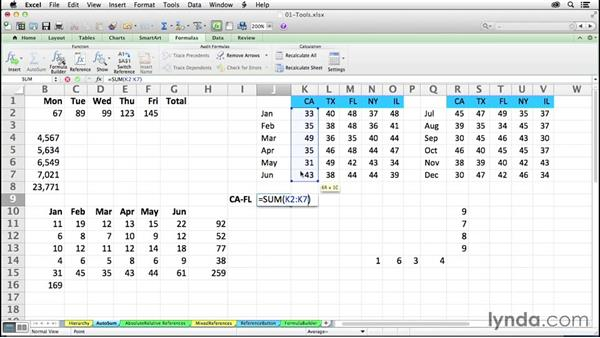 Using and extending AutoSum button capabilities: Excel 2011 for the Mac: Mastering Formulas and Functions