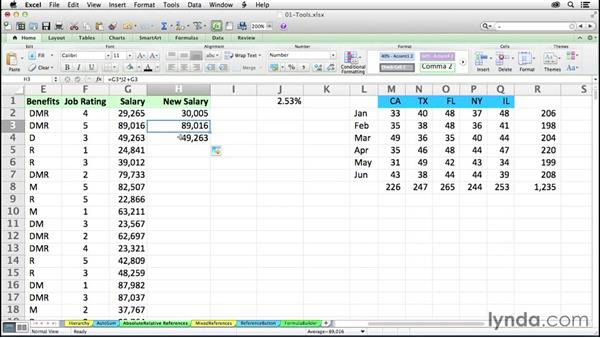 Using absolute and relative references in formulas: Excel 2011 for the Mac: Mastering Formulas and Functions