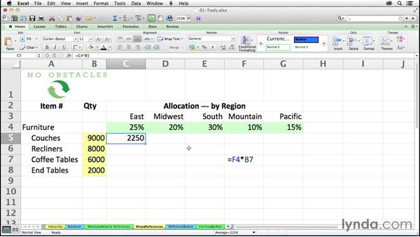 Using mixed references in formulas: Excel 2011 for the Mac: Mastering Formulas and Functions