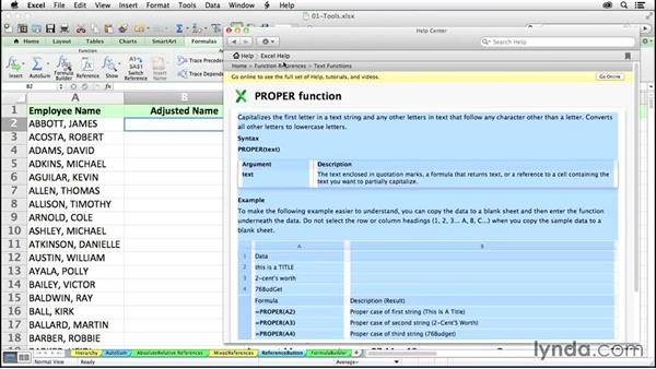 Using the Reference button on the Formulas tab for locating functions: Excel 2011 for the Mac: Mastering Formulas and Functions