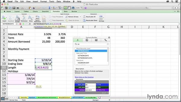 Using the Formula Builder button for guidance with unfamiliar functions: Excel 2011 for the Mac: Mastering Formulas and Functions
