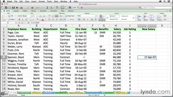 Copying column formulas instantly: Excel 2011 for the Mac: Mastering Formulas and Functions