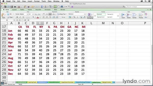 Updating values without formulas: Excel 2011 for the Mac: Mastering Formulas and Functions
