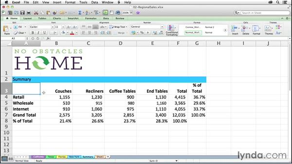 Creating 3D formulas to gather data from multiple sheets: Excel 2011 for the Mac: Mastering Formulas and Functions