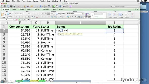 Exploring IF logical tests and using relational operators: Excel 2011 for the Mac: Mastering Formulas and Functions