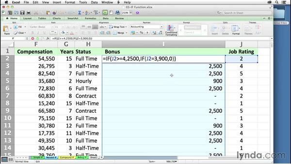 Creating and expanding the use of nested IF statements: Excel 2011 for the Mac: Mastering Formulas and Functions