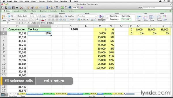 Finding approximate matches with VLOOKUP: Excel 2011 for the Mac: Mastering Formulas and Functions