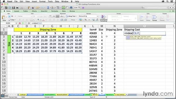 Retrieving information by location with INDEX: Excel 2011 for the Mac: Mastering Formulas and Functions