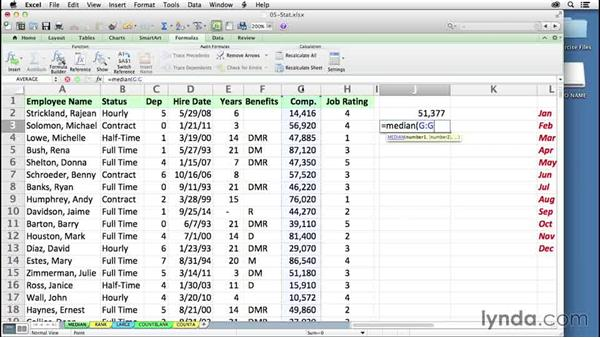 Finding the middle value with MEDIAN: Excel 2011 for the Mac: Mastering Formulas and Functions