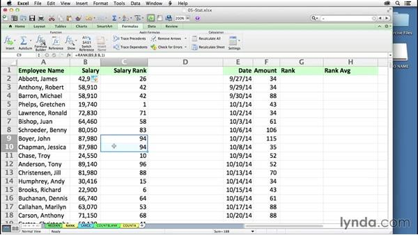 Ranking data without sorting, using the RANK function: Excel 2011 for the Mac: Mastering Formulas and Functions