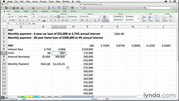 Calculating payments with PMT: Excel 2011 for the Mac: Mastering Formulas and Functions