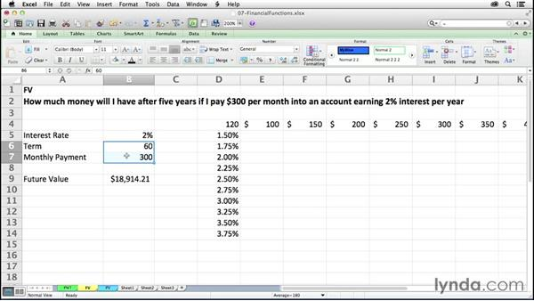 Finding future values with FV: Excel 2011 for the Mac: Mastering Formulas and Functions