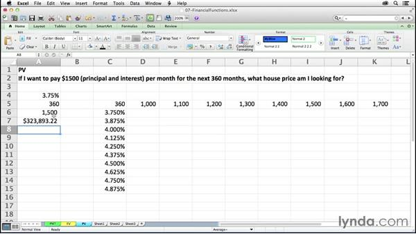Determining total amount of future payments with PV: Excel 2011 for the Mac: Mastering Formulas and Functions