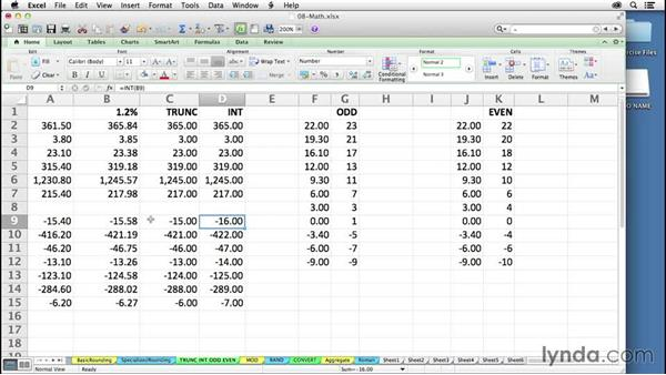Using the INT and TRUNC functions to extract integer data: Excel 2011 for the Mac: Mastering Formulas and Functions